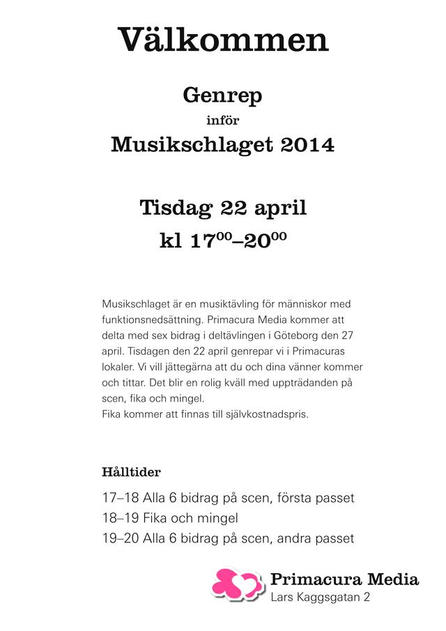 Genrep inför Musikschlaget