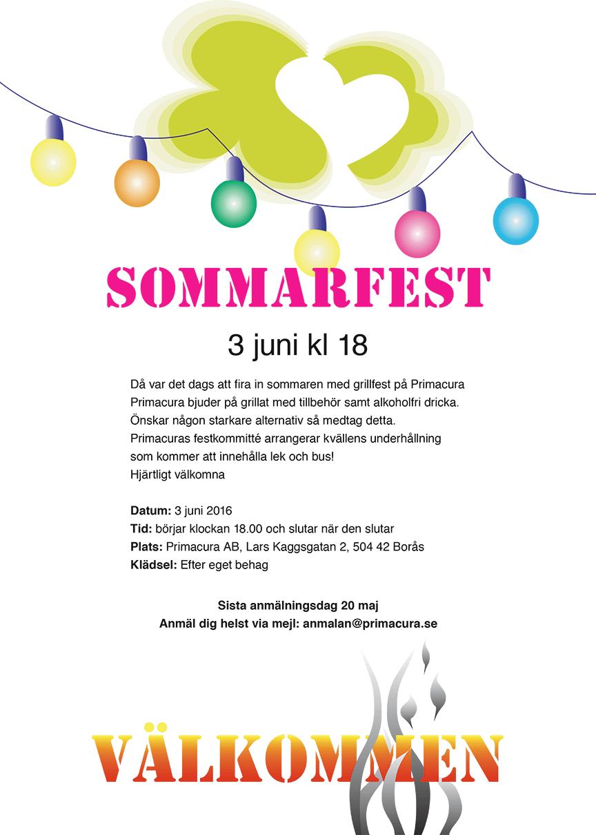 Sommarfest 3 juni 2016 kl 18